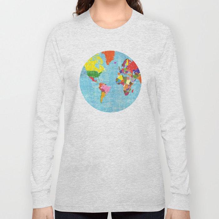 World Map Long Sleeve T Shirt By Elvia Society6