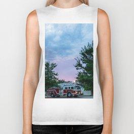 City of Thomson Georgia Firetruck Sunset Biker Tank