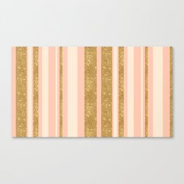 Pink, Gold Sparkle, and White Stripe Canvas Print
