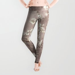 Van Gogh Almond Blossoms Beige Taupe Leggings