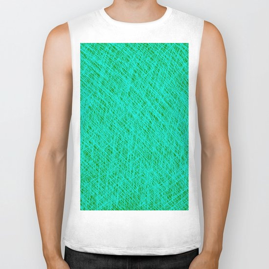 Expressive Blue (Abstract green and cyan) Biker Tank