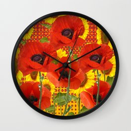 ORANGE POPPIES YELLOW SUNFLOWERS ART Wall Clock