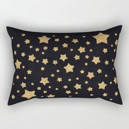 Gold Stars on BLack Rectangular Pillow