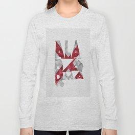 Alabama Typographic Flag Map Long Sleeve T-shirt