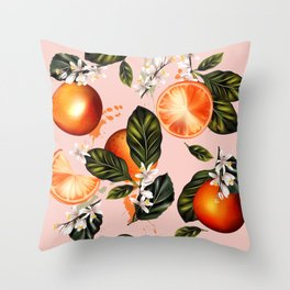 Citrus paradise. Tropical pattern with oranges Throw Pillow