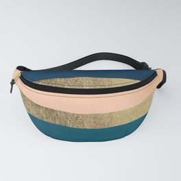 Geometrical coral navy blue burgundy gold watercolor Fanny Pack