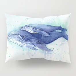 Humpback Whale Watercolor Mom and Baby Painting Whales Sea Creatures Pillow Sham