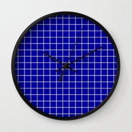 Duke blue - blue color - White Lines Grid Pattern Wall Clock