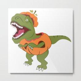 Halloween T-Rex Dinosaur Pumpkin Archaeologist Metal Print