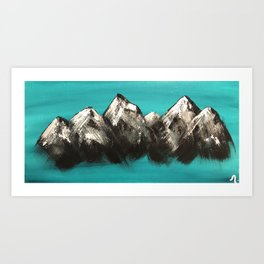 Turquoise Mountains by Noelle's Art Loft Art Print
