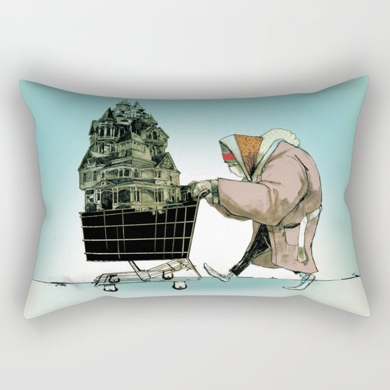 "Glue Network Print Series ""Homelessness"" Rectangular Pillow"