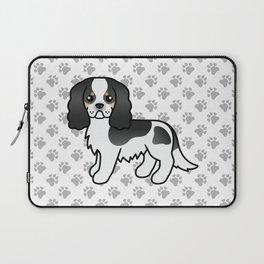 Cute Tricolor Cavalier King Charles Spaniel Dog Cartoon Illustration Laptop Sleeve