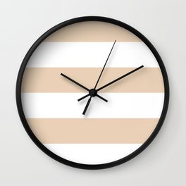 Wide Horizontal Stripes - White and Pastel Brown Wall Clock
