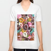 donuts V-neck T-shirts featuring Donuts by Tina Mooney
