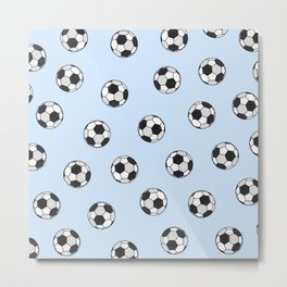 Abstract Black And White Pale Blue Soccer Ball Pattern Metal Print