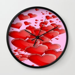 RED CANDY VALENTINE HEARTS IN PINK ART Wall Clock