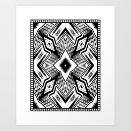 Black and White - Woodcut Etching Cross Geometric Art Print