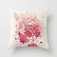 Floral universe orbit Throw Pillow