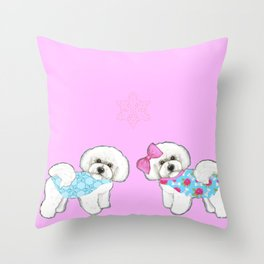 Bichon Frise Dogs in love- wearing pink and blue coats Throw Pillow