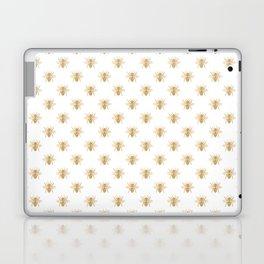 Gold Metallic Faux Foil Photo-Effect Bees on White Laptop & iPad Skin