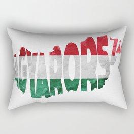 Magyarország World Map / Hungary Typography Flag Map Art Rectangular Pillow