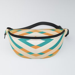 Retro Orange and Turquoise Geometric Pattern Fanny Pack