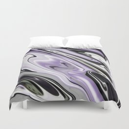 Ultra Violet Silver and Lilac Abstract Marble Vector Duvet Cover