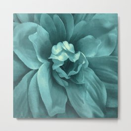Soft Teal Flower Metal Print