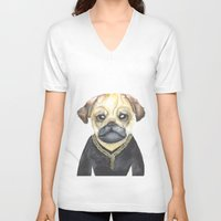 gangster V-neck T-shirts featuring Dog Gangster by Lucie Sperry