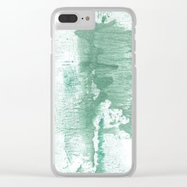Dark sea green vague watercolor Clear iPhone Case