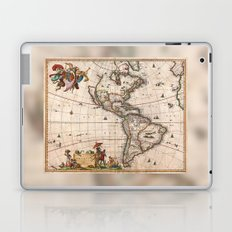 1658 Map of North America and South America with 2015 enhancements Laptop & iPad Skin