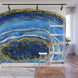 Cobalt blue and gold geode in watercolor Wall Mural