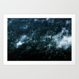 Foggy Forest Mountain Art Print