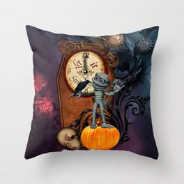 Funny mummy with skulls, crow and pumpkin Throw Pillow