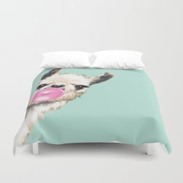 Bubble Gum Sneaky Llama in Green Duvet Cover