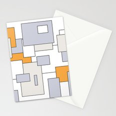 Squares - orange, gray and white. Stationery Cards