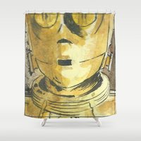 c3po Shower Curtains featuring C3PO by Johannes Vick