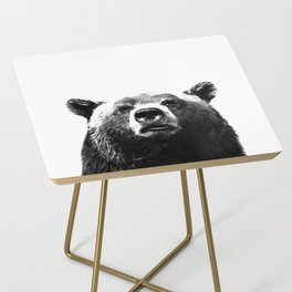 Black and white bear portrait Side Table