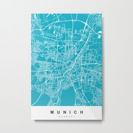 Munich, Germany Map | Blue & Cyan | More Colors, Review My Collections Metal Print