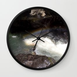 Box Canyon Falls - Rainbow on the Mist Wall Clock