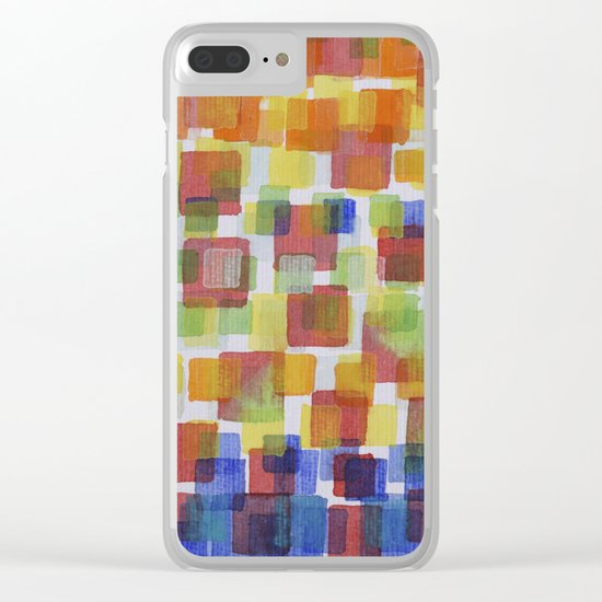 Squares on Solid Red and Blue Foundation Clear iPhone Case