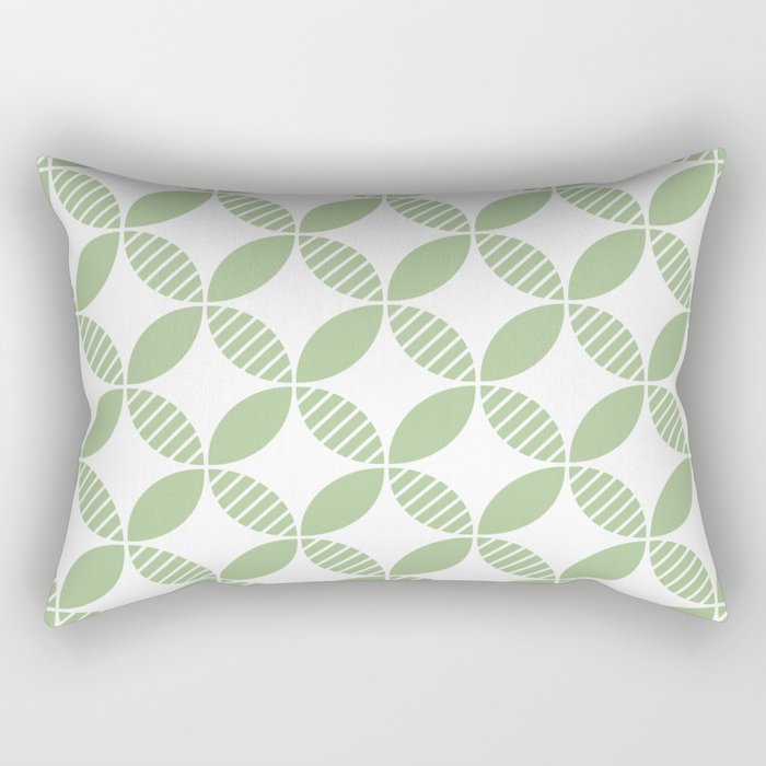 Mid Century Modern Geometric Flower Pattern Sage Green Rectangular Pillow