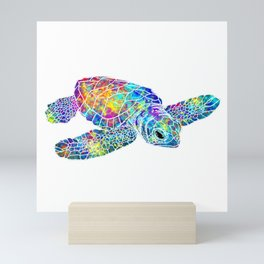 Colorful Sea Turtle Watercolor Art Mini Art Print
