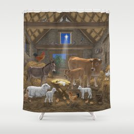 Baby Jesus Divine Manger Holy Night Christmas Nativity Scene Barnyard Farm Animals Shower Curtain