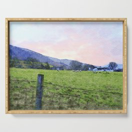 Dawn at Grasmere Farm with Sheep Grazing, Lake District, Cumbria, England. Watercolour Painting Serving Tray