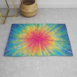 Tie Dye Rainbow Vibrant Saturated Painting Drawing Coloring Rug