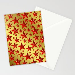red, stars, face, laugh, smile, gold, pattern, colorful, christmas, motive, Stationery Cards