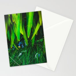 closeup green leaves plant with green grass Stationery Cards