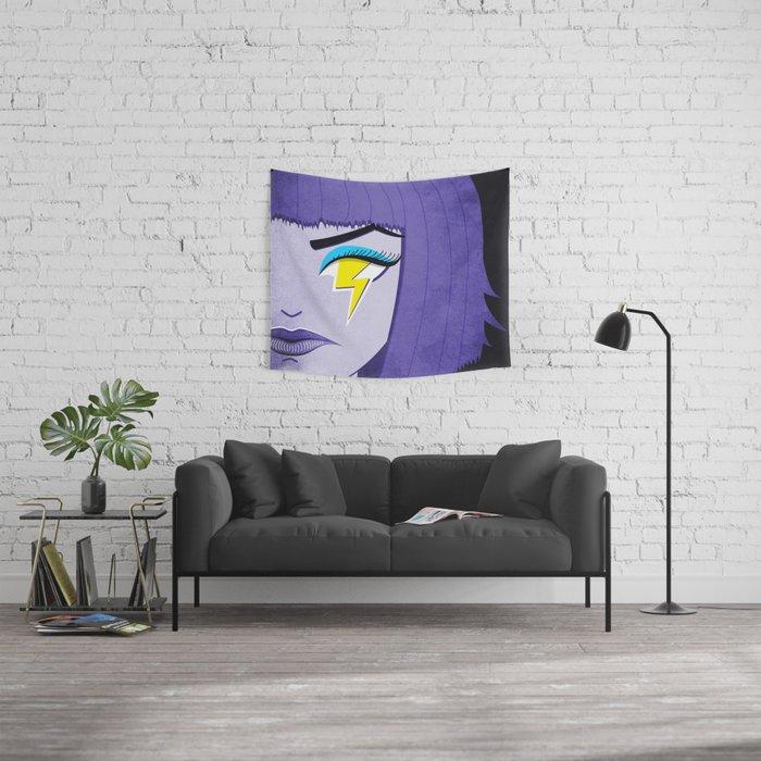 Lightning Eye Girl Silent Rage Wall Tapestry