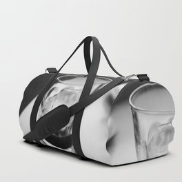 Timeless | Modern abstract black white coffee ice photography Duffle Bag